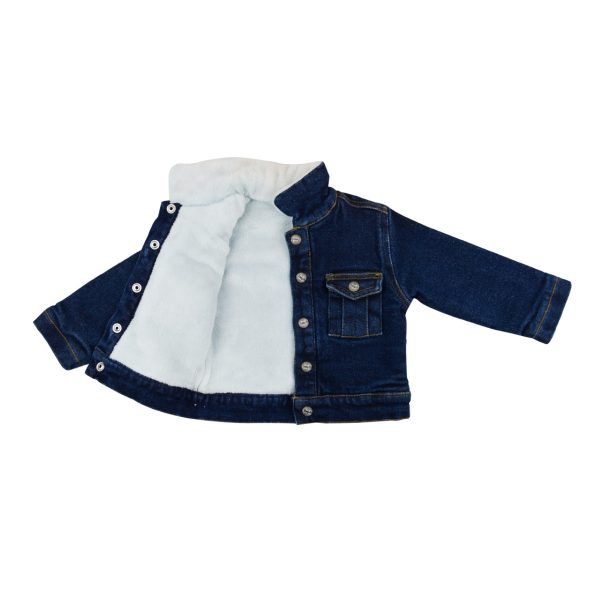 Girls jeans jacket, lined with fur